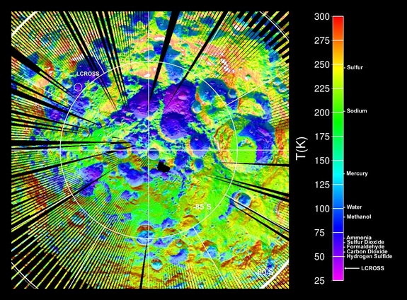 LRO Diviner Lunar Radiometer Experiment surface temperature map of the south polar region of the Moon. The data were acquired during September and October 2009, when south polar temperatures were close to their annual maximum values. The map shows the locations of several intensely cold impact craters that are potential cold traps for water ice as well as a range of other icy compounds commonly observed in comets.