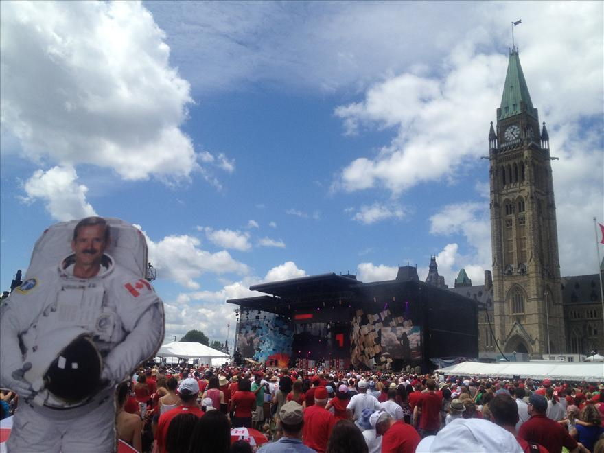 Chris Hadfield on Parliament Hill, Ottawa, ON
