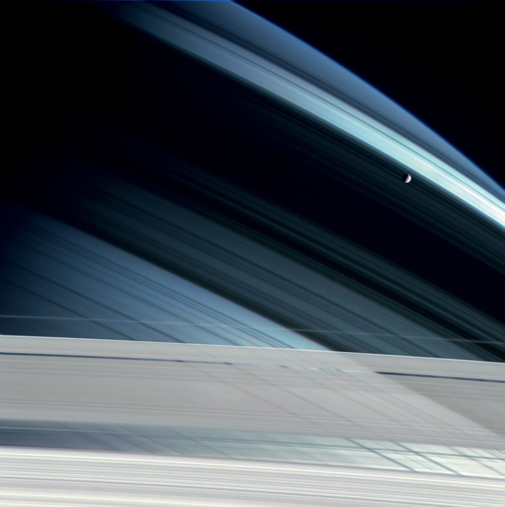 Planetfall: Mimas Against Saturn Rings Shadows