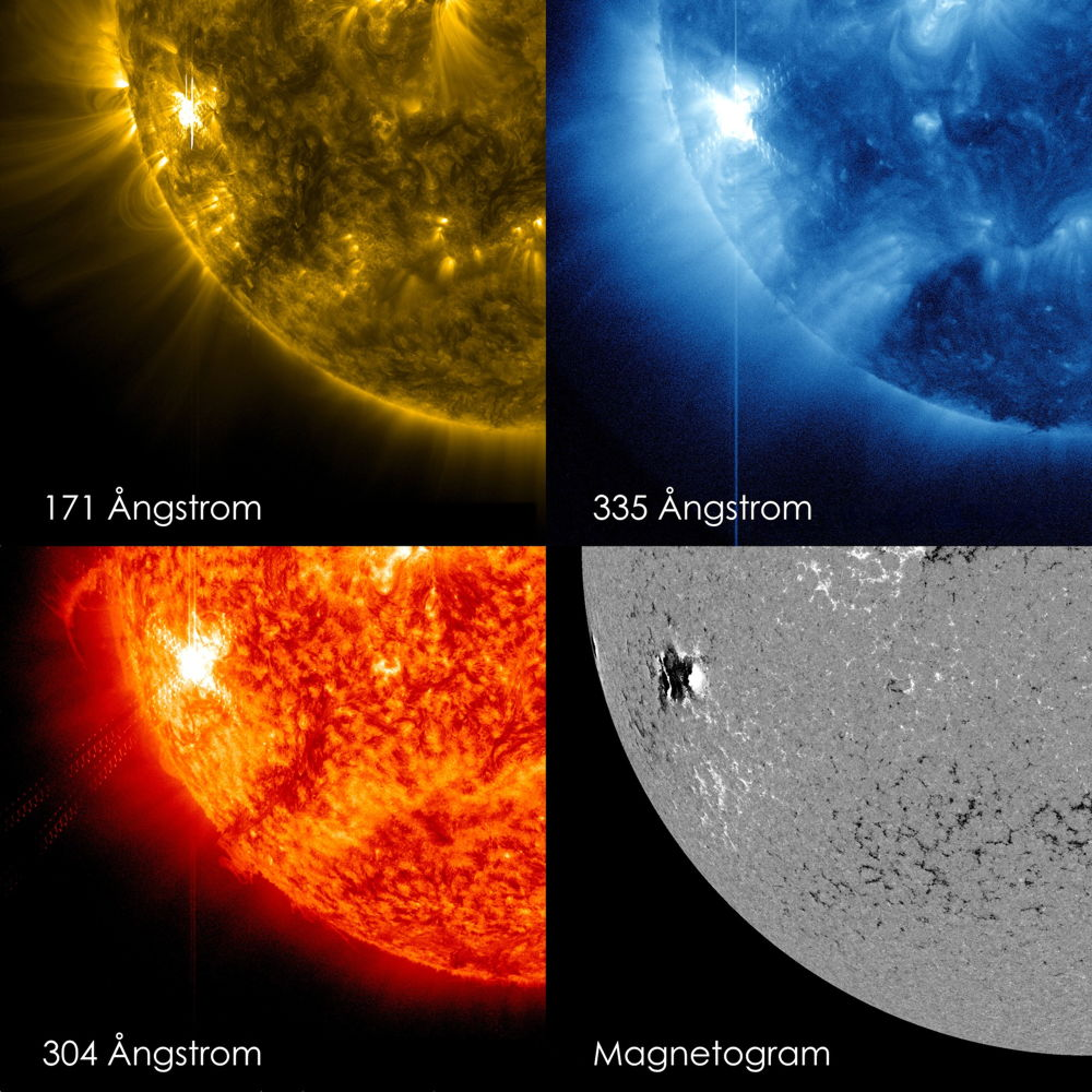 Four Views of Solar Flare Oct. 22, 2012