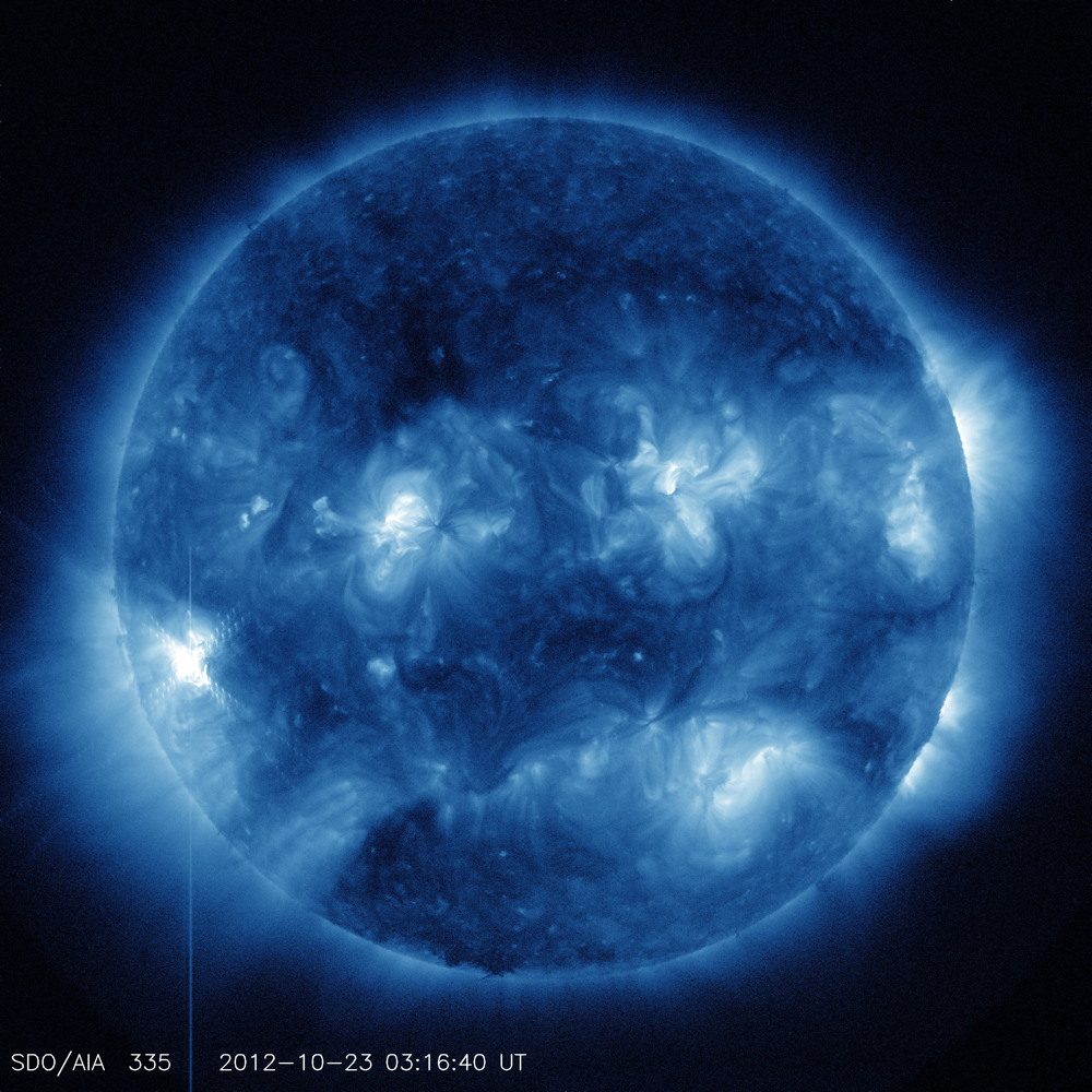 335 Angstrom Wavelength Image of Solar Flare Oct. 22, 2012