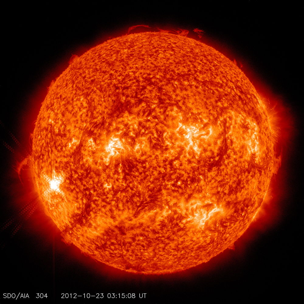304 Angstrom Wavelength Image of Solar Flare Oct. 22, 2012