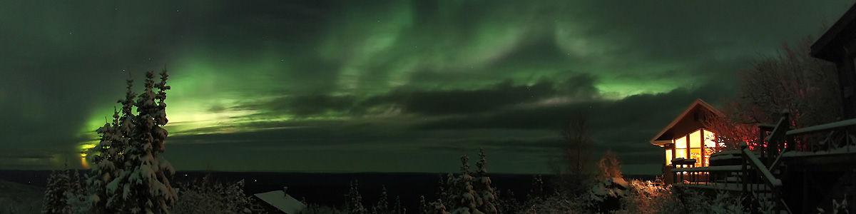 Aurora and House in Ester, Alaska