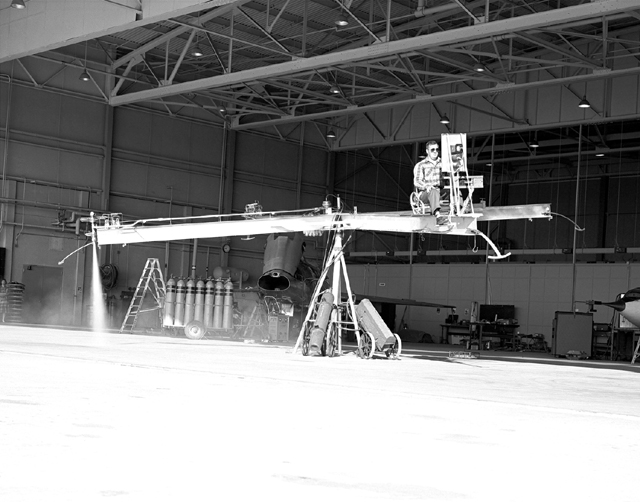 Space History Photo: Iron Cross Attitude Simulator With Pilot