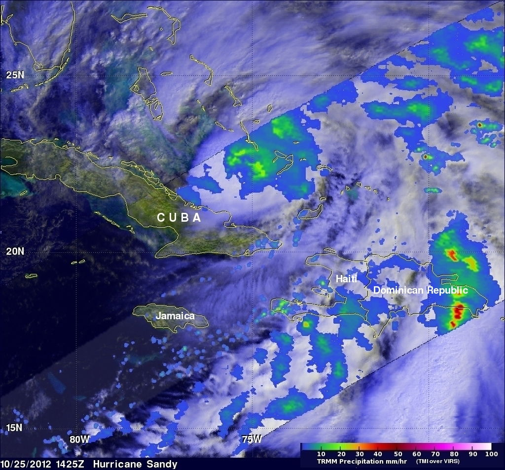 TRMM Satellite Rainfall of Hurricane Sandy