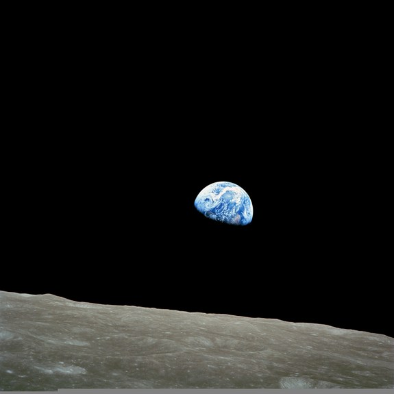 """Earthrise,"" the first picture taken of planet Earth by people orbiting the moon. This shot was captured by Apollo 8 astronaut Bill Anders on December 24, 1968, as his spacecraft became the first to fly around the moon."
