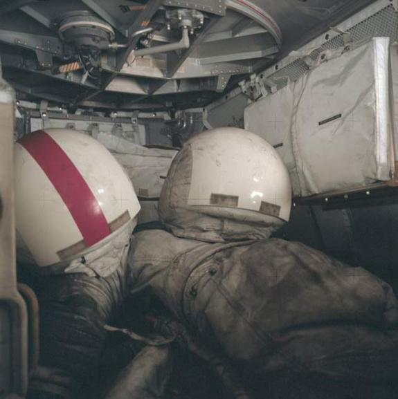 This photo shows helmets and spacesuits covered in lunar dust after the last manned moonwalk, from the 1972 Apollo 17 mission.