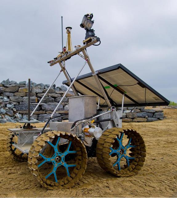 A prototype version of the Canadian Space Agency's proposed Artemis rover.