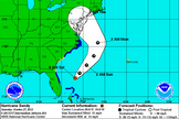 This National Hurricane Center forecast shows the anticipated path of Hurricane Sandy as it nears the U.S. East Coast in late October 2012.