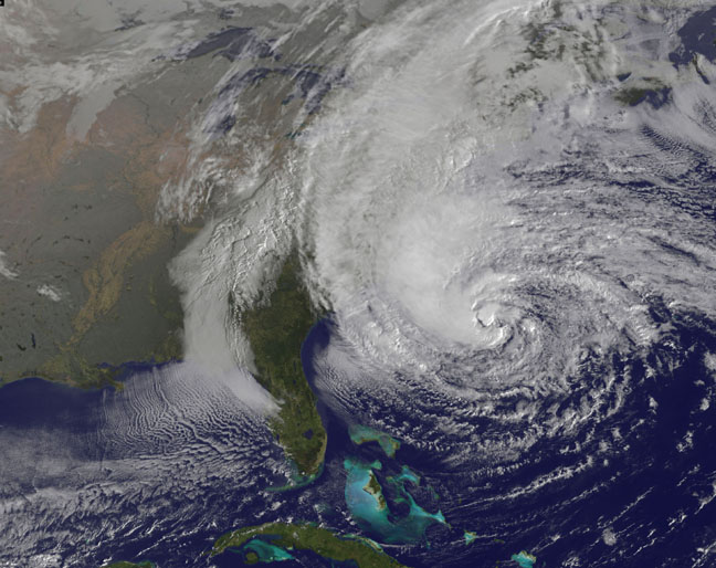 Hurricane Sandy by GOES 13: Oct. 28, 2012