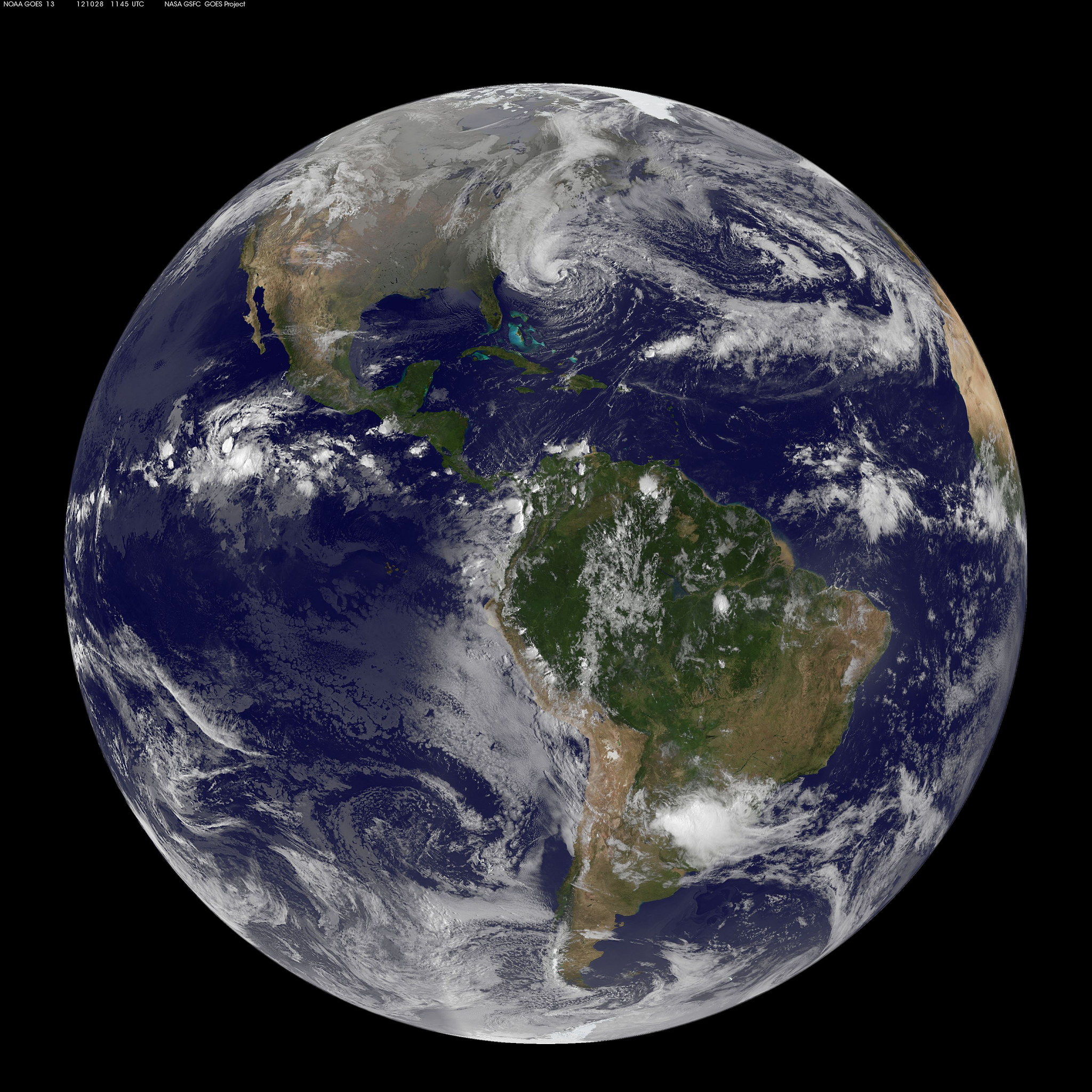 Hurricane Sandy Global View: Oct. 28, 2012