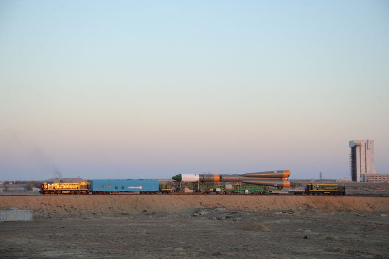 Progress M-17M Cargo Vehicle Rollout Under Blue Sky
