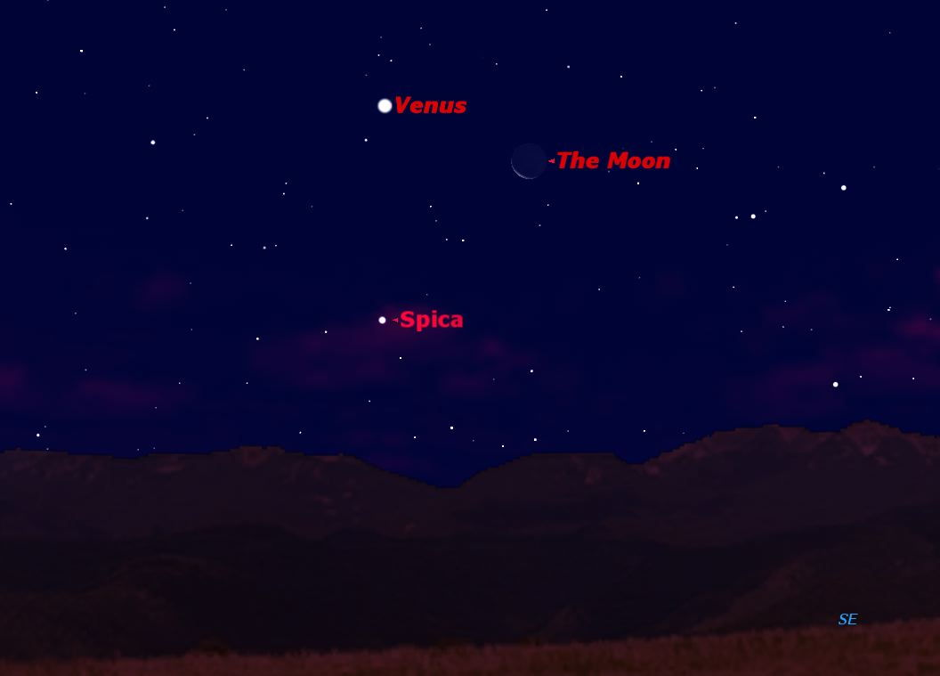 November 2012 Venus, Spica & Moon Sky Map