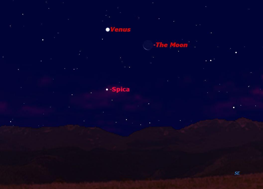 Venus, Moon and Bright Star Create Celestial Triangle Sunday