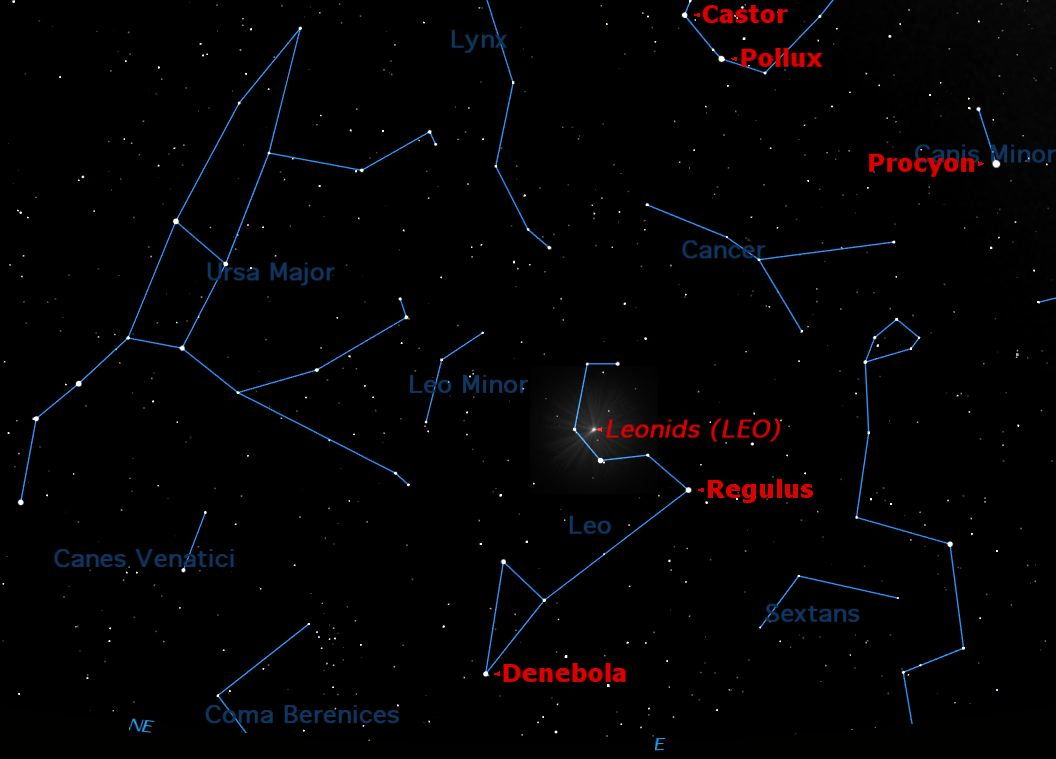November 2012 Leonid Meteor Shower Sky Map