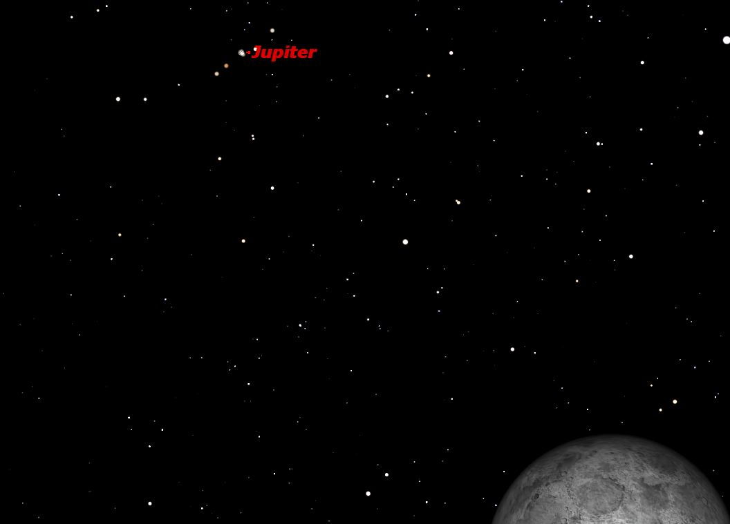 Jupiter and Full Moon Dominate Wednesday Night Sky