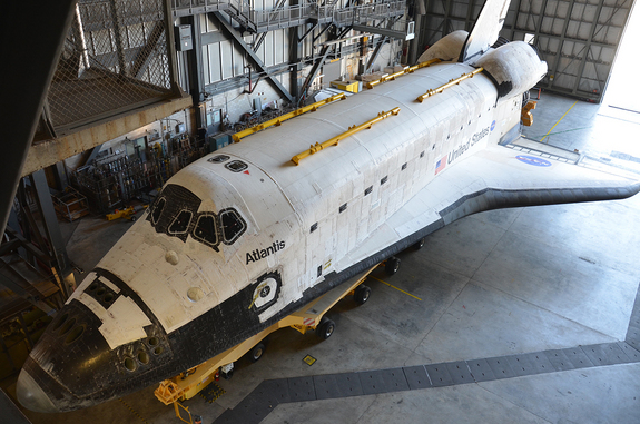 Space shuttle Atlantis, as seen inside NASA's Vehicle Assembly Building for the final time, Nov. 1, 2012. <a href=http://www.collectspace.com/news/news-110212b.html>See collectSPACE.com for more photos</a>.