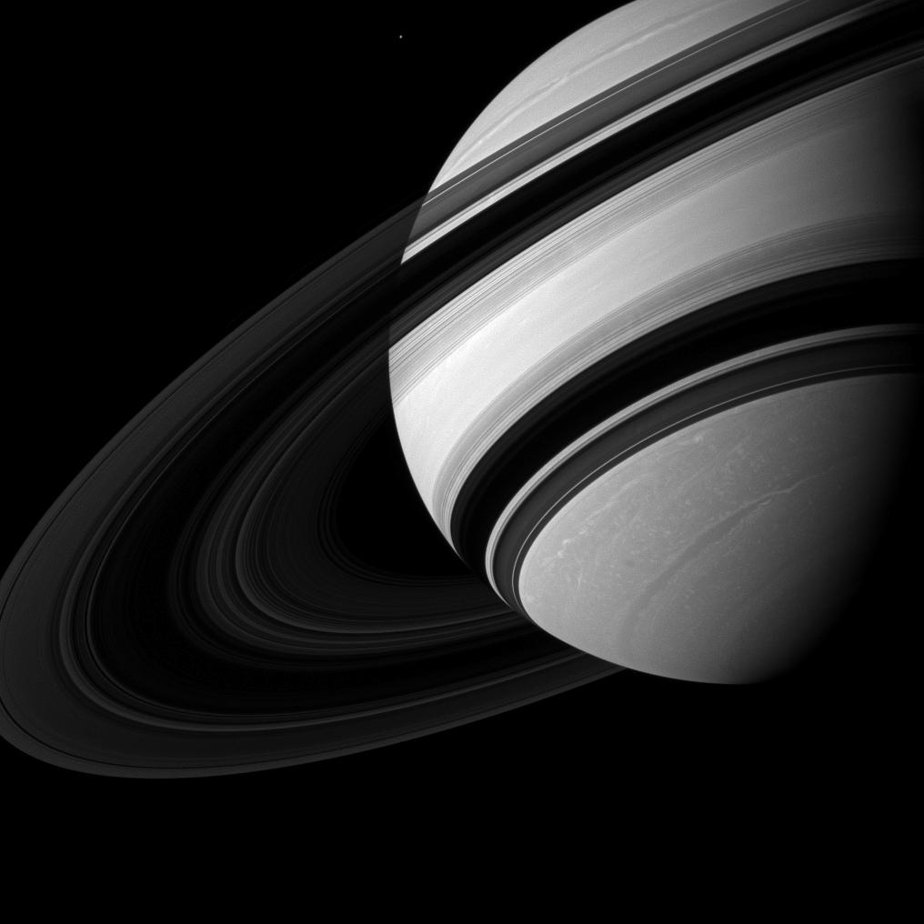 Mimas Dwarfed by Saturn
