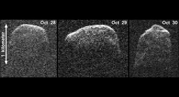 This composite image of asteroid 2007 PA8 was obtained using data taken by NASA's 230-foot-wide (70-meter) Deep Space Network antenna at Goldstone, Calif. The composite incorporates images generated from data collected at Goldstone on Oct. 28, 29, and 30, 2012.