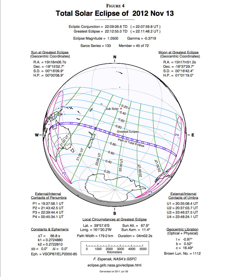 Solar Eclipse Nov. 2012 Map