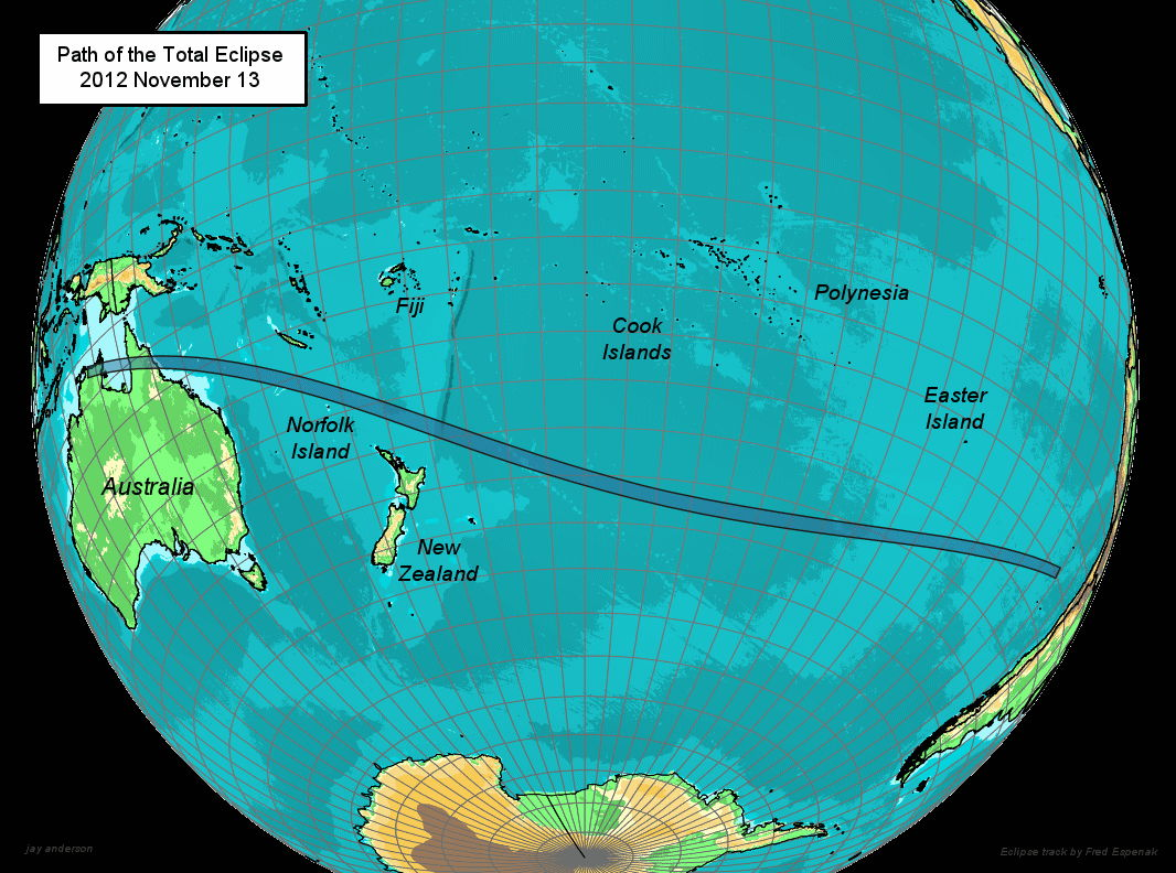 Path of the Total Eclipse, Nov. 13, 2012