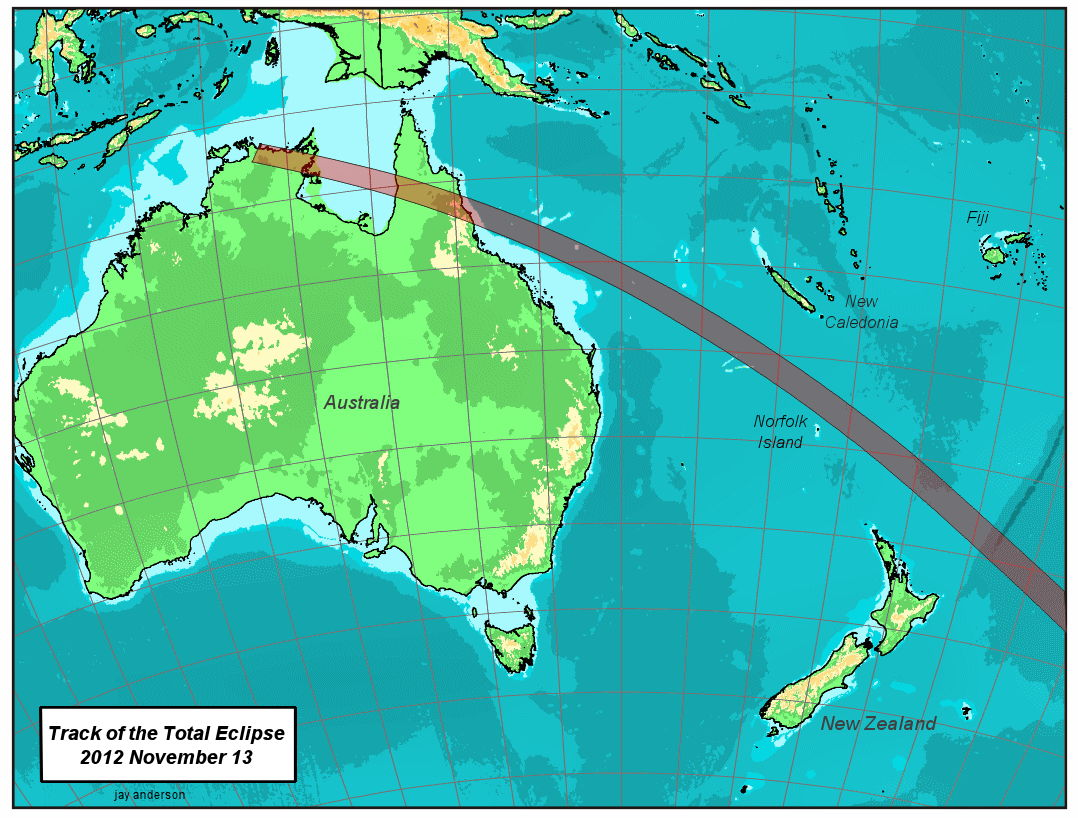 Track of the Total Eclipse Over Australia, Nov. 13, 2012