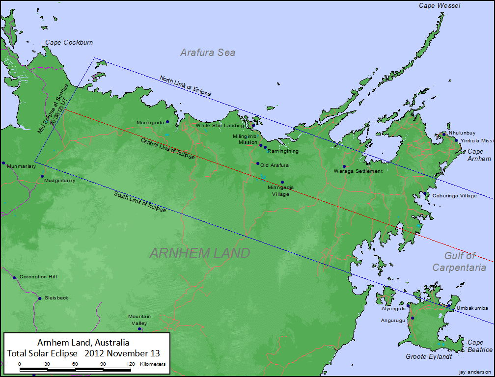 Total Eclipse Track Over Arnhem Land, Australia, Nov. 13, 2012
