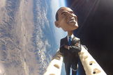 The students of the Earth to Sky project sent a bobblehead doll of President Obama flying on a weather balloon over Owens Valley, CA, on Nov. 5, 2012, in honor of Election Day.
