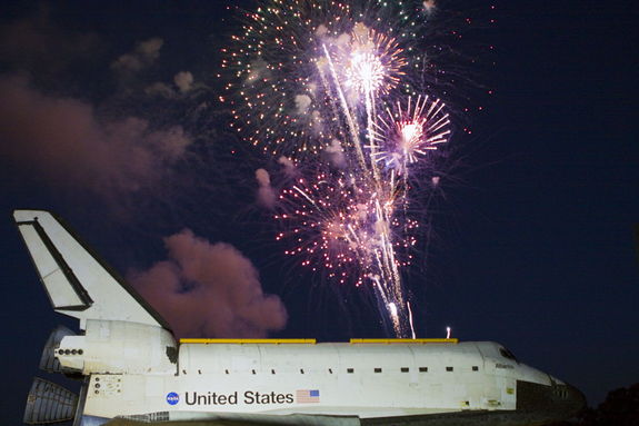 Space shuttle Atlantis' arrival at the Kennedy Space Center Visitor Complex in Florida is marked by celebration and fireworks. Atlantis made the 10-mile trip from Kennedy's Vehicle Assembly Building to the visitor complex where it will be put on public display. As part of transition and retirement of the Space Shuttle Program, Atlantis will be displayed at Kennedy's Visitor Complex beginning in the summer of 2013. Photo released Nov. 2. 2012.