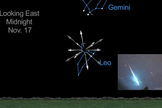 The location of the Leonid meteor shower in the predawn sky of Nov. 17, 2012, is shown in this still image from a NASA video.