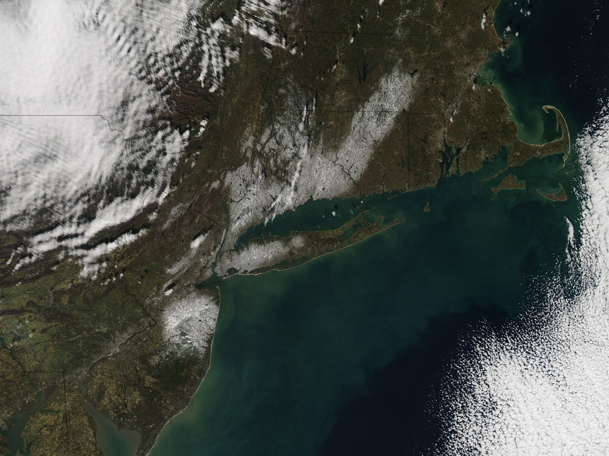 Nor'easter Record Snowfall Seen from Space