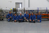 The FOXSI solar telescope team sits in front of the integrated payload before it gets ready for launch (from left to right: Paul Turin, Shinya Saito, Stephen McBride, Steven Christe, Säm Krucker, Lindsay Glesener). The rocket launched on Nov. 2, 2012.