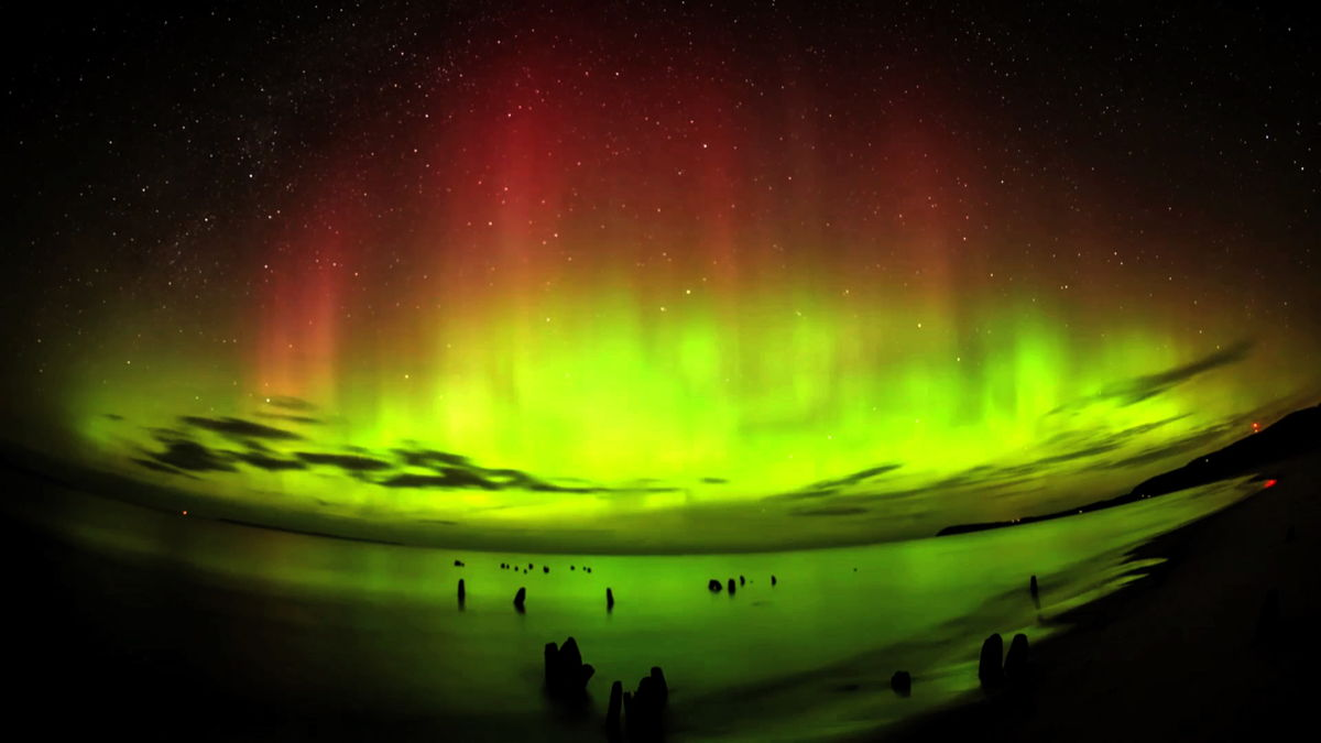 Video Still of Northern Lights Over Leland, MI