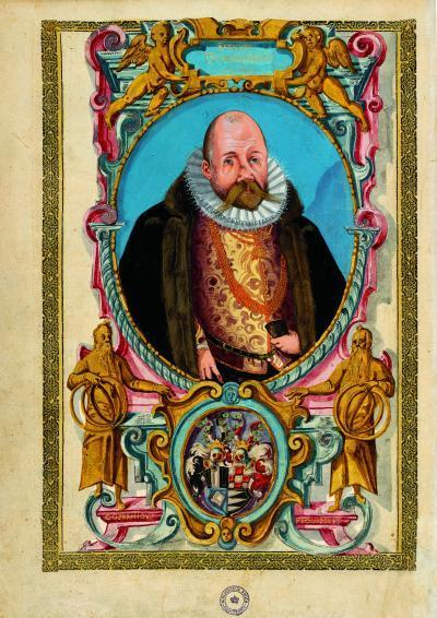 This is a watercolor of Tycho Brahe from around 1600 as he looked shortly before his death. His bushy mustache and slightly deformed nose with its prosthesis are visible.
