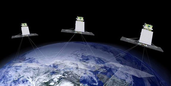The three satellites in Canada's Radarsat Constellation Mission will launch to orbit aboard a SpaceX Falcon 9 rocket in 2018.