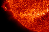 This still shows the sun as it erupted with two prominence eruptions, one after the other over a four-hour period (Nov. 16, 2012). NASA's Solar Dynamics Observatory spacecraft captured the view.