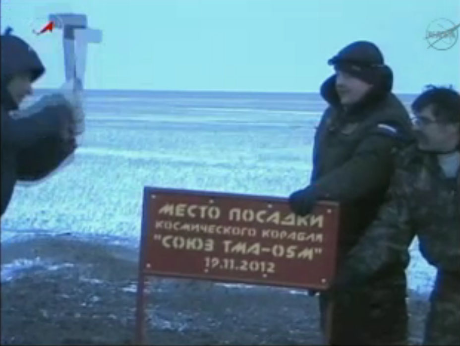 Expedition 33 Soyuz Landing Sign