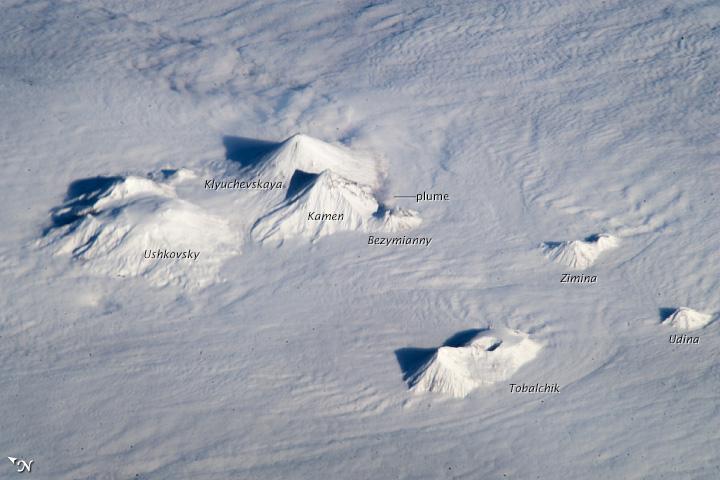Astronauts Get Stunning View of Active Russian Volcanoes