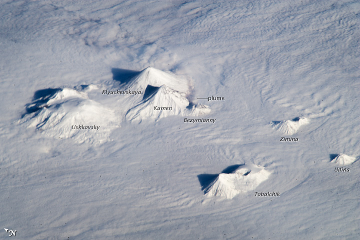 Astronauts Get Stunning View of Active Russian Volcanoes