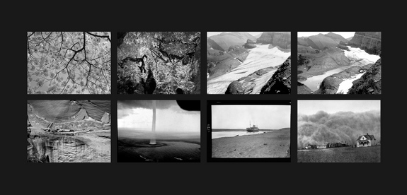 "The Last Pictures"" montage. Top row (l to r): Cherry Blossoms; The Pit Scene, Lascaux Cave; Grinnell Glacier, Glacier National Park, Montana, 1940; Grinnell Glacier, Glacier National Park, Montana, 2006. Bottom row (l to r): Narbona Panel, Canyon de Chelly, Navajo Nation; Waterspout, Florida Keys; Suez Canal, Egypt; Dust Storm, Stratford, Texas."