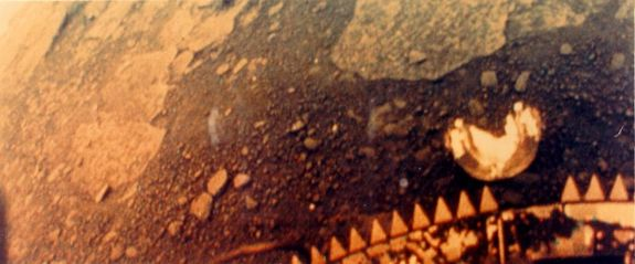 The left half of the panoramic view of the surface of Venus from the Venera 13 lander.