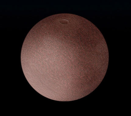 An early artist's interpretation of the dwarf planet Makemake beyond Pluto.