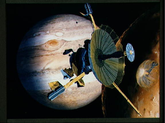 An artist;s conception of the Galileo spacecraft, which was launched in 1989 for a mission to Jupiter.