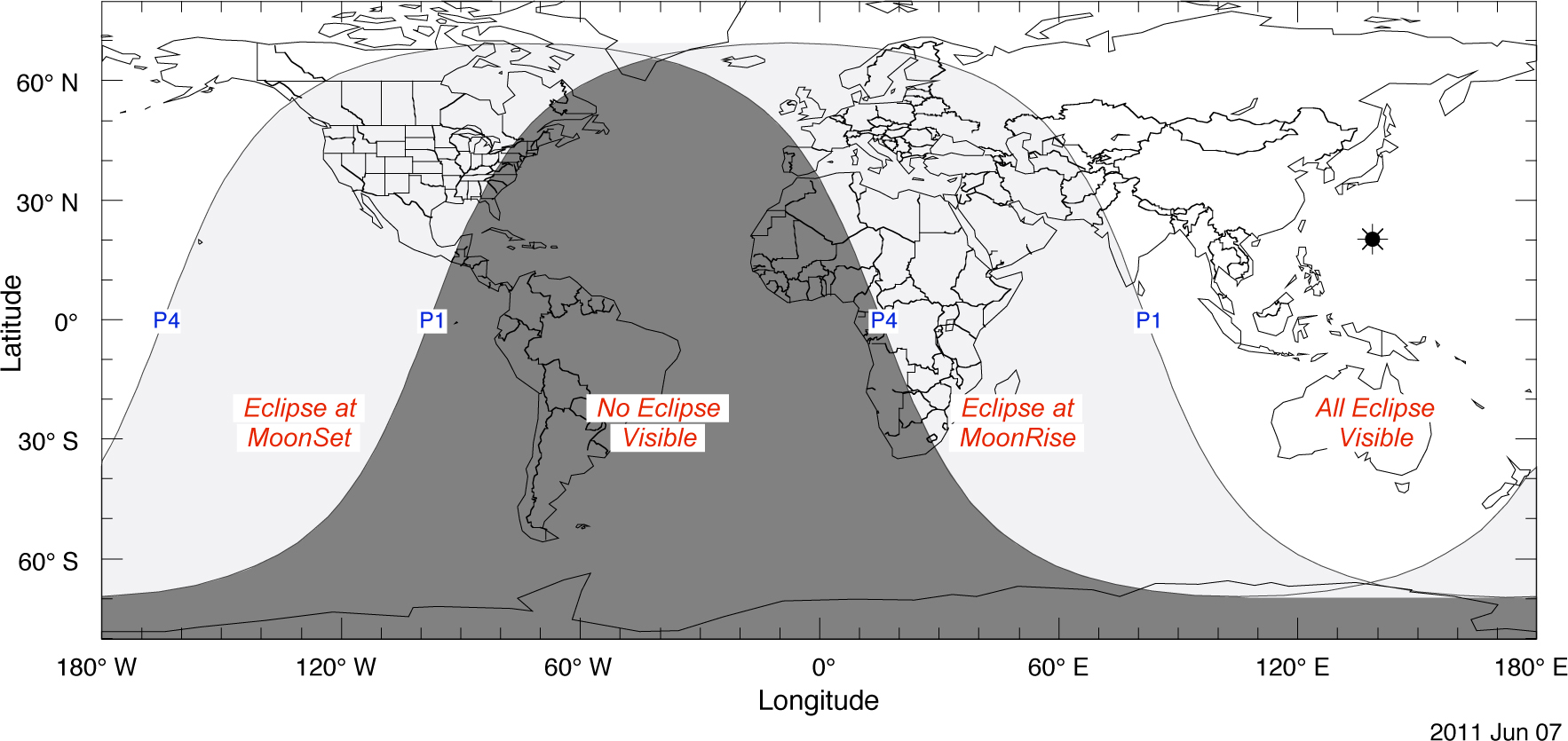 Penumbral Lunar Eclipse Visibility Map
