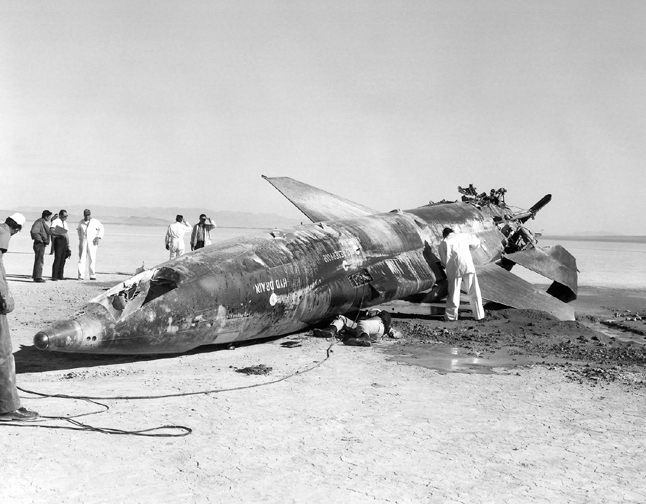 Space History Photo: X-15 Crash at Mud Lake, Nevada