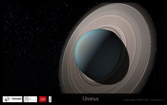 Artist's view of Uranus with rings, giving birth to its satellite system.