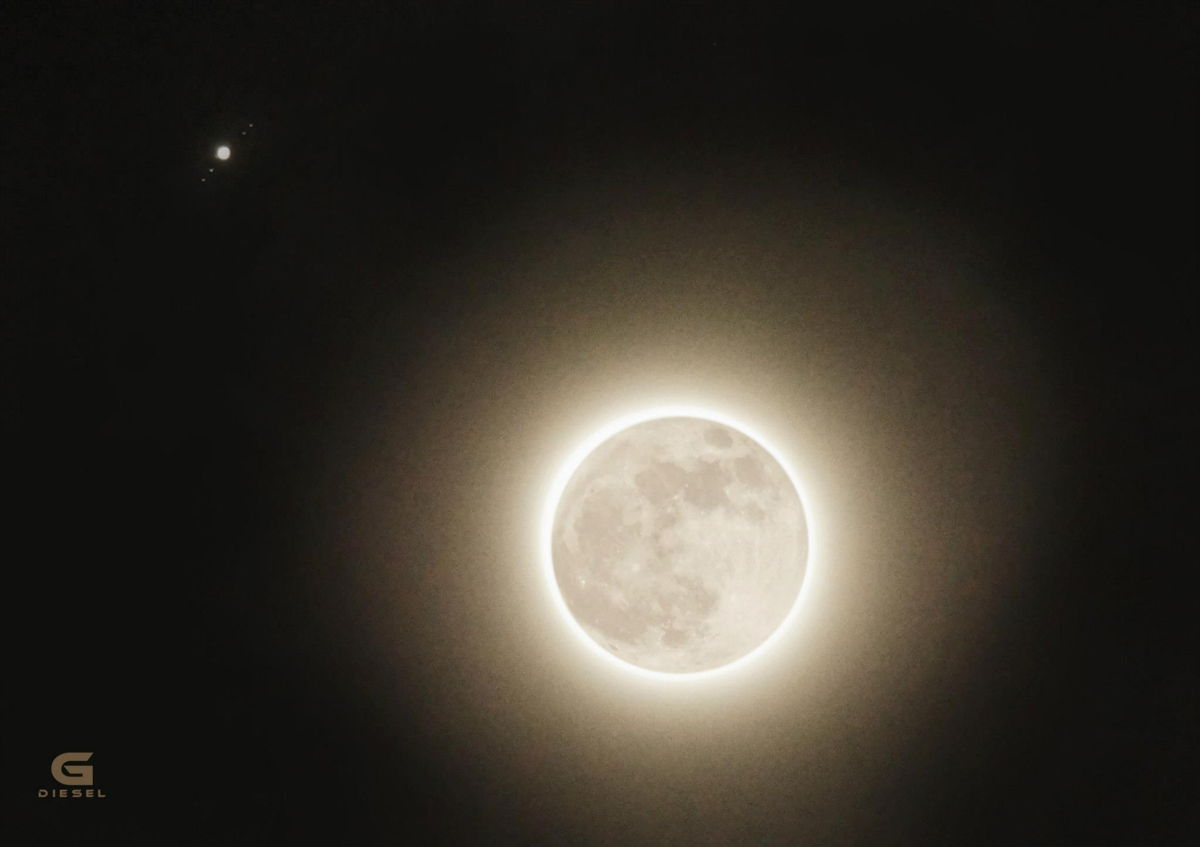 Full Moon and Jupiter With Moons