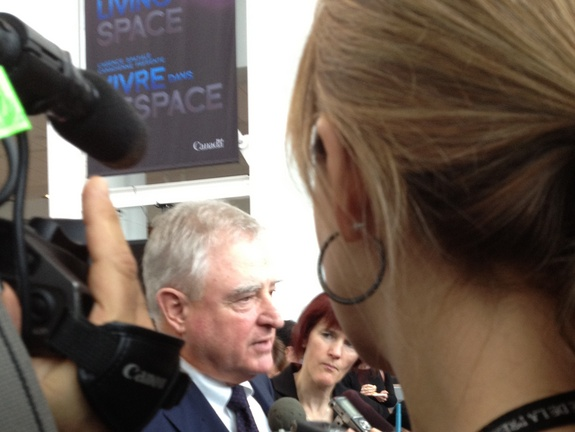 Aerospace review panel chair David Emerson speaks with media at the Canada Aviation and Space Museum in Ottawa, Canada.
