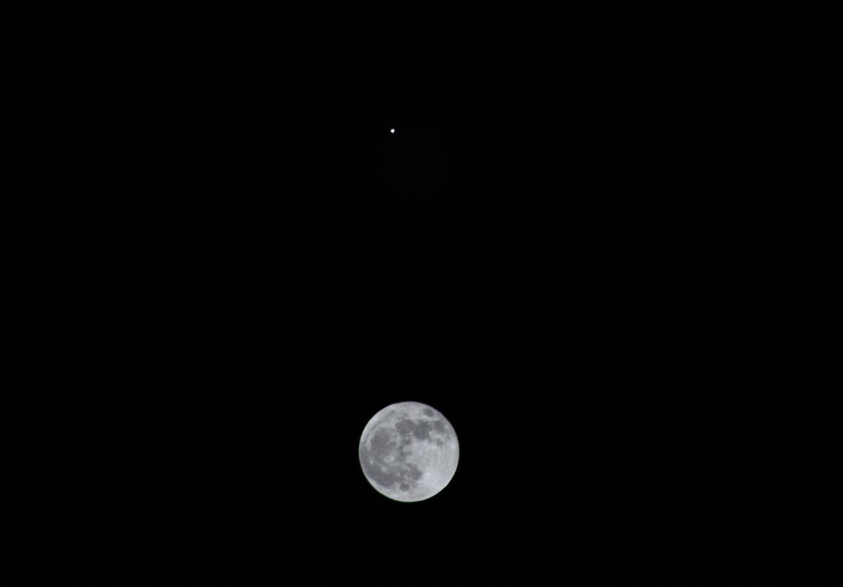 Full Moon and Jupiter Over Michigan