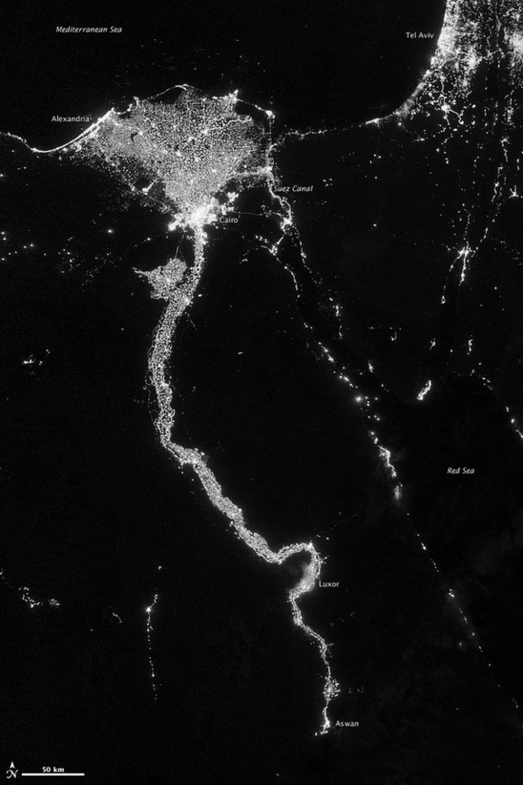 On Oct. 13, 2012, the Visible Infrared Imaging Radiometer Suite (VIIRS) on the Suomi NPP satellite captured this nighttime view of the Nile River Valley and Delta.